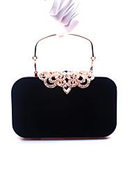 cheap -Women's Crystal / Rhinestone Velvet Evening Bag Geometric Black / Wine / Purple / Fall & Winter