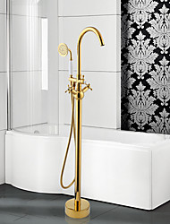 cheap -Modern Tub And Shower Widespread / Floor Standing / Pullout Spray with  Ceramic Valve Two Handles One Hole