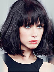 cheap -Human Hair Capless Wigs Human Hair Straight Bob / Short Hairstyles 2019 / With Bangs Short Wig Women's