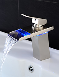 cheap -Bathroom Sink Faucet - Waterfall / LED Nickel Brushed Centerset Single Handle One HoleBath Taps / Brass