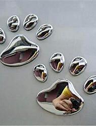 cheap -Pair Cool Design Paw Car Sticker 3D Animal Dog Cat Bear Foot Prints Footprint 3M Decal Car Stickers Silver