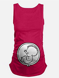 cheap -Women's Daily Maternity Cotton Tank Top - Solid Colored Black / Cute