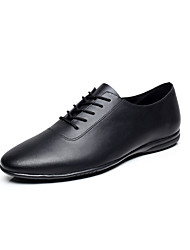 cheap -Men's Dance Shoes Leather Jazz Shoes / Dance Sneakers Ribbon Tie Flat Flat Heel Customizable Black / EU43