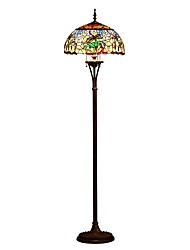 cheap -Dragonfly Tiffany Style Stained Glass Floor Lamp 66 Inch with 18 Inch Wide Handmade Shade Metal Base with Dark Brown Baking Finish