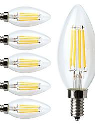 cheap -6pcs LED Filament Bulbs 380 lm E12 C35 4 LED Beads COB Dimmable Warm White 110-130 V / 6 pcs / RoHS