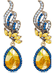 cheap -Women's Citrine Synthetic Sapphire Drop Earrings Pear Cut Ladies Fashion everyday Crystal Earrings Jewelry Blue For Wedding Party Daily Casual Masquerade Engagement Party 1pc