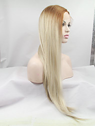 cheap -Synthetic Lace Front Wig Straight Straight Lace Front Wig Blonde Strawberry Blonde / Medium Auburn Synthetic Hair Women's Blonde