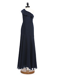 cheap -A-Line One Shoulder Floor Length Chiffon Junior Bridesmaid Dress with Ruffles / Natural