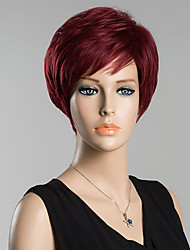 Недорогие -Человеческие волосы Парик Прямой Классика Классика Прямой силуэт Черный Красный Повседневные