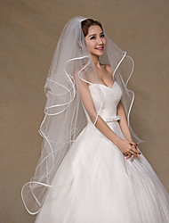cheap -Four-tier Ribbon Edge Wedding Veil Fingertip Veils with Tulle / Classic