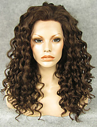 cheap -Synthetic Wig Curly Curly Lace Front Wig Brown Synthetic Hair Brown