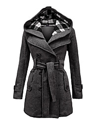 cheap -Women's Daily Vintage Winter Plus Size Long Coat, Plaid Hooded Long Sleeve Black / Red / Blue
