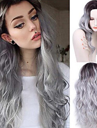 cheap -fashion gradient grey wig cheap natural hair wigs long curly synthetic wig for women 26 inch synthetic wigs heat resistant