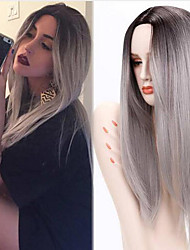 cheap -Synthetic Wig Straight Straight Middle Part Wig Long Grey Green Synthetic Hair Women's Heat Resistant Ombre Hair Dark Roots Gray