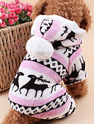 cheap -Cat Dog Hoodie Jumpsuit Pajamas Winter Dog Clothes Brown Blue Pink Costume Polar Fleece Reindeer Keep Warm Christmas S M L XL XXL