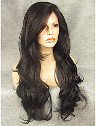 cheap -Synthetic Wig Wavy Wavy Lace Front Wig Natural Black Synthetic Hair Black