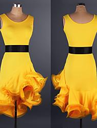 cheap -Latin Dance Dress Ruffles Pattern / Print Split Joint Women's Performance Practise Sleeveless Spandex Lace Organza