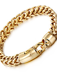 cheap -Men's Chain Bracelet Wheat Baht Chain Luxury Fashion Hip-Hop Hip Hop 18K Gold Plated Bracelet Jewelry Silver / Golden For Party Gift Daily Casual Street / Stainless Steel / Titanium Steel