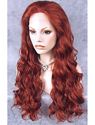 cheap -Synthetic Lace Front Wig Wavy Synthetic Hair Red Wig Women's Long Lace Front