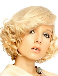 cheap -Synthetic Wig Wavy Wavy With Bangs Wig Blonde Short Golden Blonde Synthetic Hair Women's Side Part Blonde