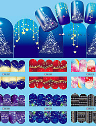 cheap -12pcs nail art christmas water transfer tips snowflake blue full wraps patterns temporary sticker nails
