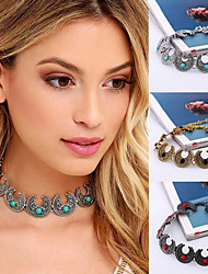 cheap -Women's Turquoise Choker Necklace Tattoo Choker Necklace double horn Statement Ladies Tattoo Style Bohemian Silver Plated Gold Plated Turquoise Black Red Blue 32cm Necklace Jewelry For Party
