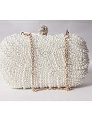 cheap -Women's Pearl / Imitation Pearl / Beading Satin Evening Bag Wedding Bags Solid Colored White-Beige-Red