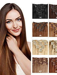 cheap -Premierwigs Clip In Human Hair Extensions Straight Remy Human Hair Light Brown / Bleached Blonde