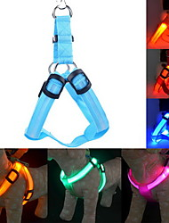 cheap -Cat Dog Harness Leash Training LED Lights Adjustable / Retractable Solid Colored Nylon Blue Pink Dark Red