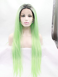 cheap -Synthetic Lace Front Wig Straight Straight Lace Front Wig Green Synthetic Hair Women's Green