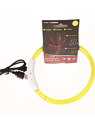 cheap -Dog Collar Light Up Collar Strobe / Flashing Solid Colored PU Leather Yellow Red
