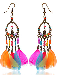 cheap -Women's Girls' Drop Earrings Wings Ladies Bohemian Fashion Native American Feather Earrings Jewelry Rainbow For Party Casual