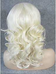 cheap -Synthetic Lace Front Wig Curly Blonde Synthetic Hair Blonde Wig Women's Lace Front