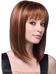 cheap -Synthetic Wig Straight Straight With Bangs Wig Blonde Chestnut Brown Dark Blonde Synthetic Hair Women's Blonde Brown