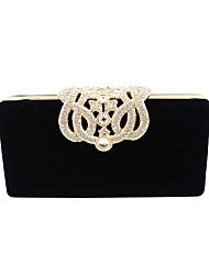 cheap -Women's Crystal / Rhinestone Velvet Evening Bag Solid Colored Black / Camel / Wine / Fall & Winter