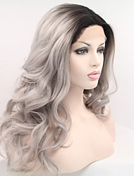 cheap -Synthetic Lace Front Wig Natural Wave Natural Wave Side Part Lace Front Wig Long Black / Grey Synthetic Hair 18-26 inch Women's Ombre Hair Black Grey Ombre