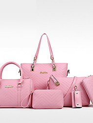 cheap -Women's Bags PU Leather Bag Set 6pcs Zipper Formal Bag Sets Handbags White Black Blue Red