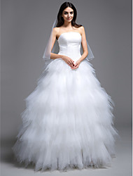 cheap -Ball Gown Wedding Dresses Strapless Sweep / Brush Train Tulle Strapless Little White Dress with Ruched Tiered 2021