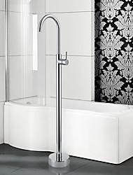 cheap -Contemporary Art Deco/Retro Modern Tub And Shower Widespread Floor Standing Ceramic Valve Single Handle One Hole Chrome, Bathtub Faucet