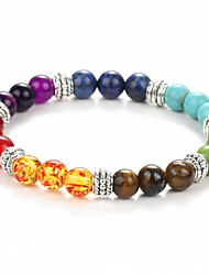 cheap -Black Lava Bead Bracelet Beaded Beads Chakra Rainbow Fashion Colorful Yoga Healing Synthetic Gemstones Bracelet Jewelry Green For Christmas Gifts Daily Casual Sports