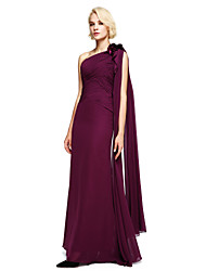 cheap -Ball Gown One Shoulder Floor Length Chiffon Bridesmaid Dress with Beading / Flower