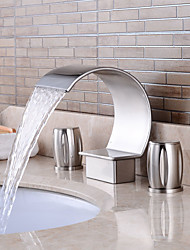 cheap -Bathroom Sink Faucet - Pre Rinse / Widespread Nickel Brushed Widespread Two Handles Three HolesBath Taps
