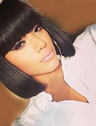 Недорогие -Человеческие волосы без парики Натуральные волосы Естественные волны Стрижка боб / Короткие Прически 2019 Стиль Мода Черный Средние Парик Жен. / Прямой силуэт