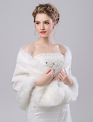 cheap -Faux Fur / Imitation Cashmere Wedding / Party Evening Women's Wrap With Pattern Shawls