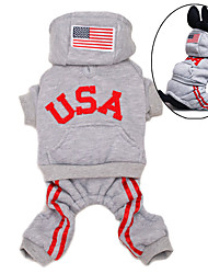 cheap -Dog Hoodie Jumpsuit Dog Clothes American / USA Gray Red Pink Cotton Costume For Spring &  Fall Winter Men's Women's Sports Fashion