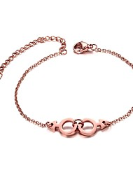 cheap -Women's Chain Bracelet Interlocking Punk Fashion Rose Gold Bracelet Jewelry Rose Gold For Party Anniversary Birthday Congratulations Graduation Gift / Stainless Steel / Rose Gold Plated