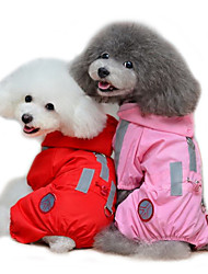 cheap -Cat Dog Rain Coat Dog Clothes Red Pink Costume Terylene Solid Colored Waterproof XS S M L XL XXL