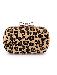 cheap -Women's Fur PU Leather / Suede Evening Bag Wedding Bags Leopard Print Leopard / Light Green / Light gray