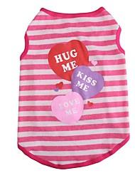 abordables -Chat Chien Costume Tee-shirt Gilet Hiver Vêtements pour Chien Violet Rouge Bleu Costume Coton Rayure Anniversaire Vacances Décontracté / Quotidien XS S M L