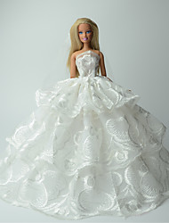 cheap -Doll Dress Wedding For Barbiedoll Print Lace Organza Dress For Girl's Doll Toy